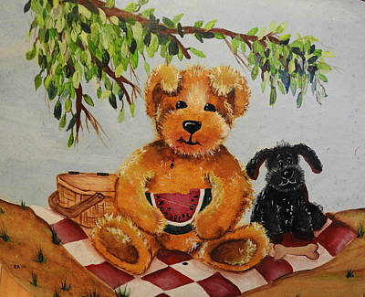 Painting - Buddies Picnic by Betty-Anne McDonald
