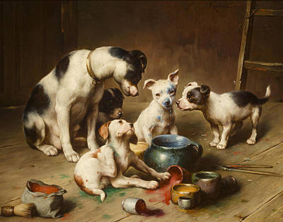 Pooch Painting - Budding Artists by Carl Reichert