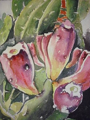 Painting - Budding Cactus In Spring I by Aleksandra Buha