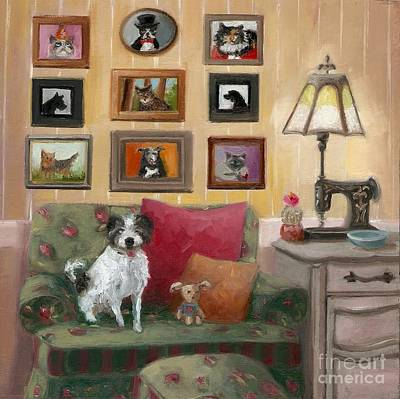 Sewing Room Painting - Buddy And Friends by Cara alex White