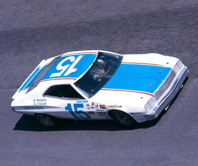 Buddy Baker # 15 Bud Moore  Ford Torino At Daytona Art Print by David Bryant