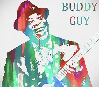 Music Paintings - Buddy Guy Watercolor by Dan Sproul
