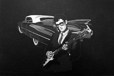Painting - Buddy Holly And 1959 Cadillac by Richard Le Page