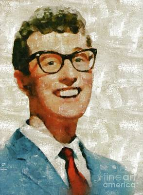 Music Paintings - Buddy Holly by Mary Bassett by Esoterica Art Agency