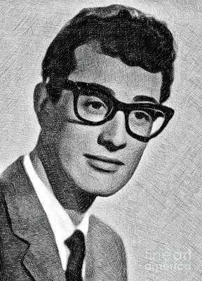 Buddy Holly Drawing - Buddy Holly, Legend By Js by John Springfield