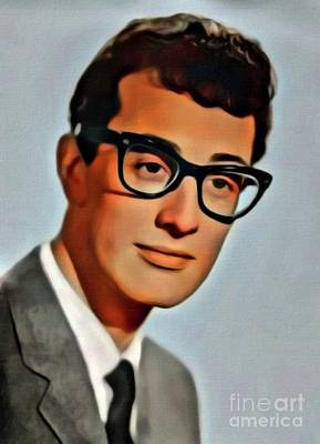 Music Royalty-Free and Rights-Managed Images - Buddy Holly, Music Legend. Digital Art by MB by Mary Bassett