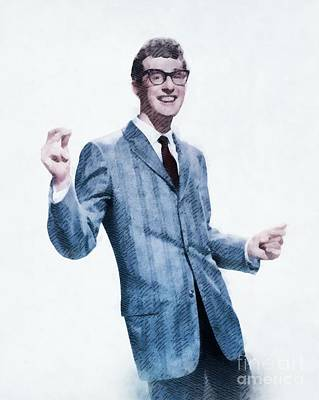Buddy Holly Painting - Buddy Holly, Music Legend by John Springfield