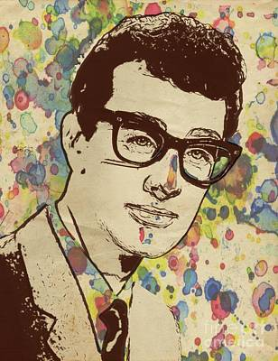 Musicians Royalty-Free and Rights-Managed Images - Buddy Holly Pop Art by Mary Bassett by Mary Bassett