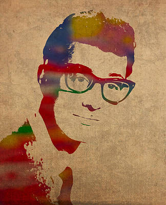 Buddy Holly Mixed Media - Buddy Holly Watercolor Portrait by Design Turnpike