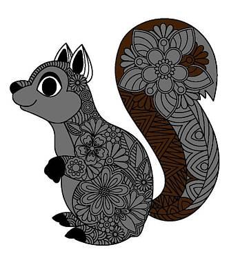 Drawing - Buddy Squirrel by Sheila Mcdonald