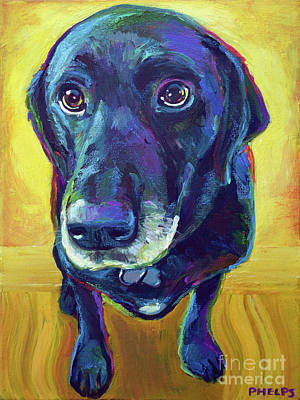 Painting - Buddy The Black Labrador by Robert Phelps