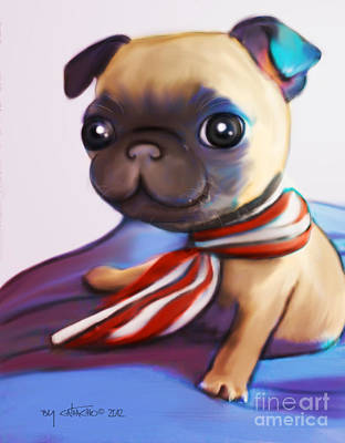 Digital Art - Buddy The Pug by Catia Lee