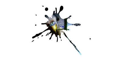 Lovebird Digital Art - Budgie Splatter by Richard Sayer