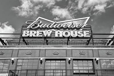 Photograph - Budweiser Brew House - Saint Louis Cardinals Busch Stadium - Black And White by Gregory Ballos