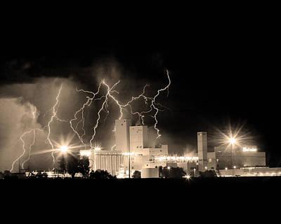 Budweiser Lightning Thunderstorm Moving Out Bw Sepia Crop Art Print