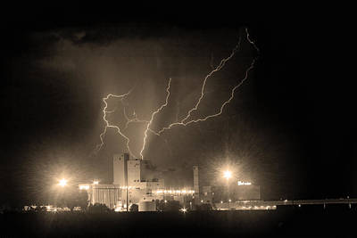 Budweiser Powered By Lightning Sepia Print by James BO  Insogna