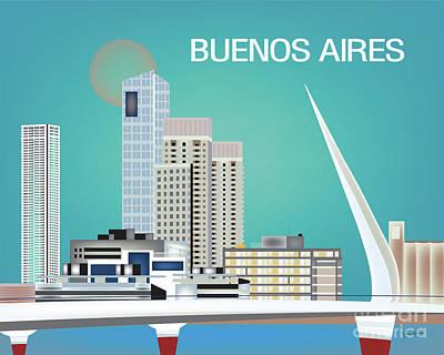 Argentina Digital Art - Buenos Aires Argentina Horizontal Skyline - Blue by Karen Young