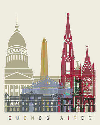 Buenos Aires Skyline Poster Art Print
