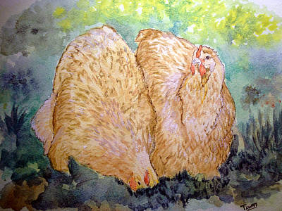 Buff Orpington Hens In The Garden Art Print