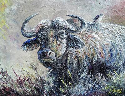 Animals Paintings - Buffalo and Bird by Anthony Mwangi