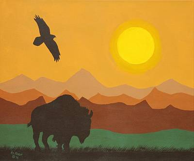 Painting - Buffalo At Sunset by Ralph Root