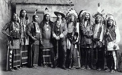 Buffalo Bill And Indian Troupe C. 1888 Art Print by Daniel Hagerman