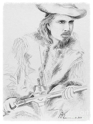 Lookout Mountain Drawing - Buffalo Bill by Barbara Chase