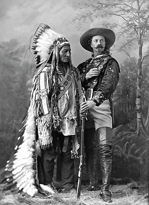 Buffalo Bill Cody And Chief Sitting Bull C. 1890 Art Print by Daniel Hagerman
