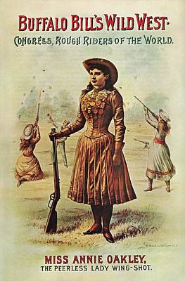 Mixed Media - Buffalo Bills Wild West Show - Miss Annie Oakley - Vintage Event Advertising Poster by Studio Grafiikka