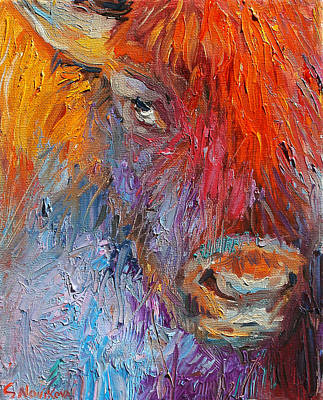 Red Drawing - Buffalo Bison Wild Life Oil Painting Print by Svetlana Novikova