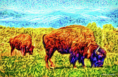 Buffalo By The Mountain - Colorado Front Range Bison Art Print