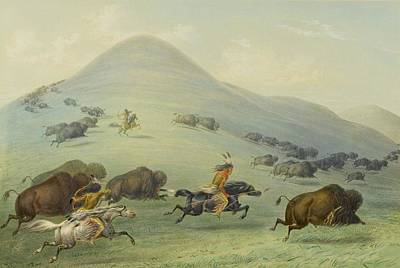 Yak Painting - Buffalo Chase by George Catlin