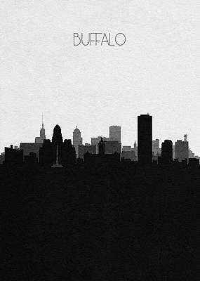 Mixed Media - Buffalo Cityscape Art by Inspirowl Design