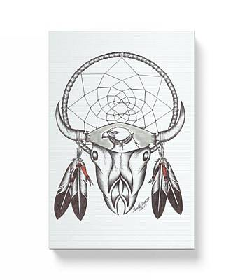 Dreamcatcher Drawing - Buffalo Dreamcatcher by Donald Tssessaze Jr