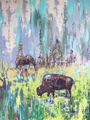 Painting - Buffalo Grazing by Cheryl McClure