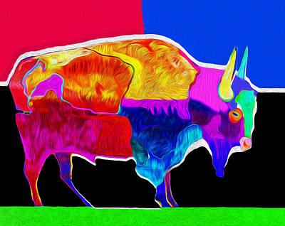 Limited Edition Mixed Media - Buffalo Green By Nixo by Nicholas Nixo