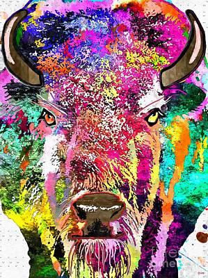 Buffalo Grunge Art Print by Daniel Janda