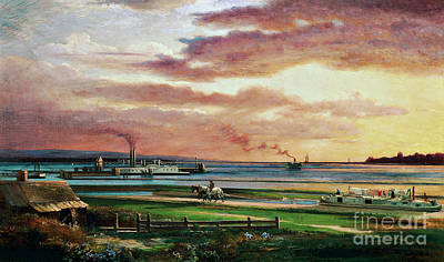 Water Buffalo Wall Art - Painting - Buffalo Harbor From The Foot Of Porter Avenue, 1871 by Lars Gustaf Sellstedt