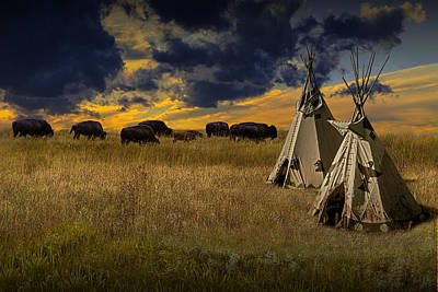Photograph - Buffalo Herd Alongside Teepees On The Prairie by Randall Nyhof