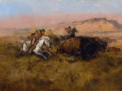 Bison Painting - Buffalo Hunt by Celestial Images