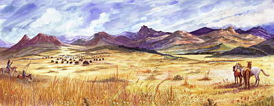 Distant Mountains Painting - Buffalo Hunt Panorama by Marilyn Smith