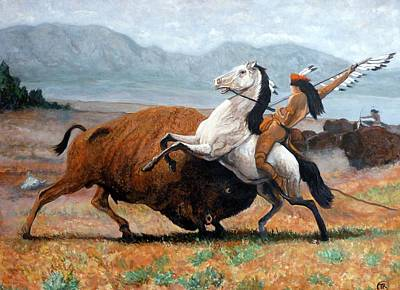 Buffalo Hunt Art Print by Tom Roderick