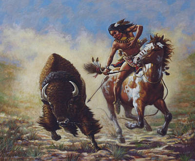 Indian Pony Painting - Buffalo Hunter by Harvie Brown