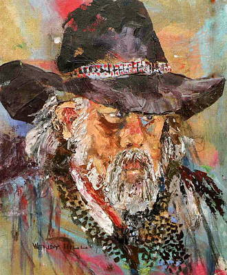 Old Man With Beard Painting - Buffalo Hunter by Wendy Hill