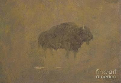 Alone Painting - Buffalo In A Sandstorm by Albert Bierstadt