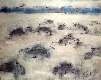 Mixed Media - Buffalo In Winter by Johanna Elik