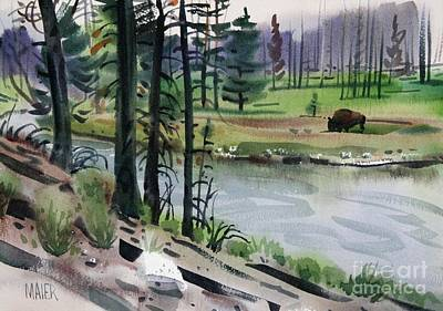 Yellowstone National Park Painting - Buffalo In Yellowstone by Donald Maier