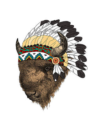 Western Art Digital Art - Buffalo With Indian Headdress In Color by Madame Memento