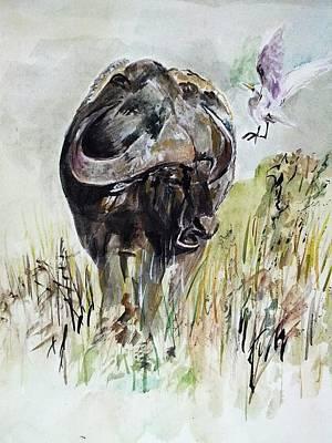 Buffalo Art Print by Khalid Saeed