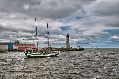 Photograph - Buffalo Lighthouse And Spirit Of Buffalo by Guy Whiteley